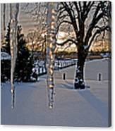 Icicles On The Canal Canvas Print