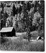 Iconic Cabin  Black And White Canvas Print
