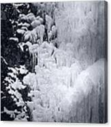 Icy Cliff - Black And White Canvas Print