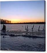 Icy Lake Sunset Canvas Print