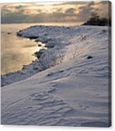 Icy Patterns On The Snow - A Lake Shore Morning Canvas Print