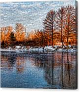 Icy Reflections At Sunrise - Lake Ontario Impressions Canvas Print