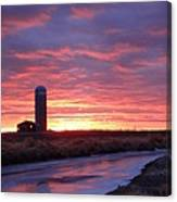 Icy River Sunset Canvas Print