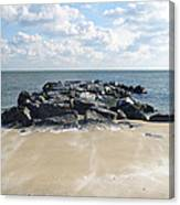 Icy Rocks And Blowing Snow Canvas Print