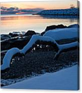 Icy Snowy Winter Sunrise On The Lake Canvas Print