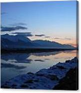 Icy Sunset Reflection Canvas Print