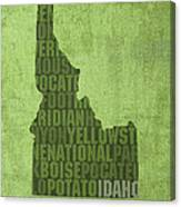 Idaho State Word Art Map On Canvas Canvas Print