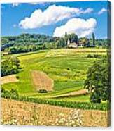 Idyllic Agricultural Landscape Panoramic View Canvas Print