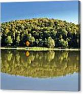 Idyllic Autumn Reflections On Lake Surface Canvas Print