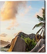 Idyllic Tropical Island Sunset Over Canvas Print