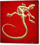 Iguana Skeleton In Gold On Red  Canvas Print