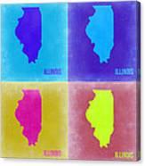 Illinois Pop Art Map 2 Canvas Print