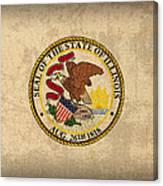 Illinois State Flag Art On Worn Canvas Canvas Print