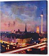 Illuminated Berlin Skyline At Dusk  Canvas Print