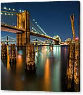 Illuminated Brooklyn Bridge By Night Canvas Print