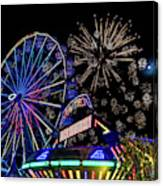 Illuminated Ferris Wheel With Neon Canvas Print