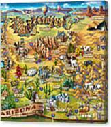 Illustrated Map Of Arizona Canvas Print