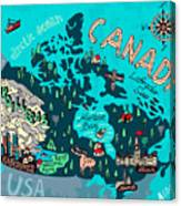 Illustrated Map Of Canada. Travel Canvas Print