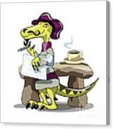 Illustration Of A Raptor Poet Thinking Canvas Print