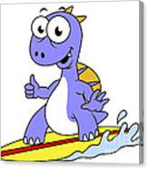 Illustration Of A Surfing Spinosaurus Canvas Print
