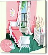 Illustration Of A Victorian Style Pink And Green Canvas Print
