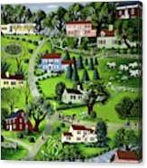 Illustration Of A Village Canvas Print