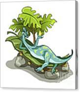 Illustration Of An Iguanodon Sunbathing Canvas Print