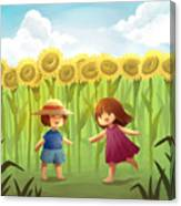 Illustration Of Friends Playing In Sunflower Field Canvas Print