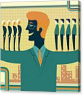 Illustration Of Leader Carrying Business People On His Arms Canvas Print