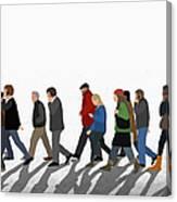 Illustration Of People Walking On Canvas Print