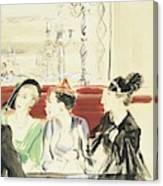 Illustration Of Three Women Wearing Designer Hats Canvas Print