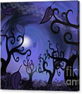 Illustration Print Of Spooky Forest Of Curly Trees Canvas Print