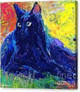 Impasto Black Cat Painting Canvas Print