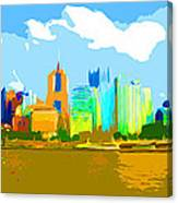 Impressionist Pittsburgh From The North Side Canvas Print