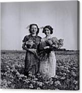 In A Field Of Flowers Vintage Photo Canvas Print