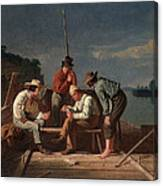 In A Quandary, Or Mississippi Raftsmen Canvas Print