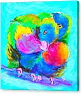 In Love Birds - Lorikeets Canvas Print