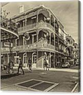 In The French Quarter Sepia Canvas Print
