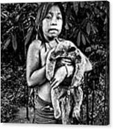 Girl With Oso Dormilon Canvas Print