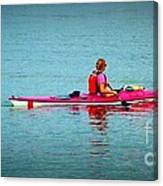 In The Pink Kayaker Canvas Print