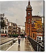 In The Rain - Puente De Triana Canvas Print
