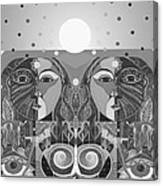 In Unity And Harmony In Grayscale Canvas Print