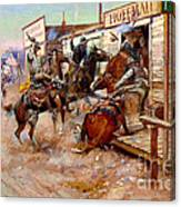 In Without Knocking By Charles M. Russell Canvas Print