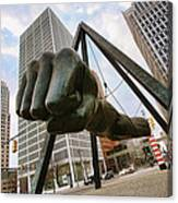 In Your Face -  Joe Louis Fist Statue - Detroit Michigan Canvas Print