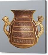 Inca Vase With Geometric Decoration Canvas Print