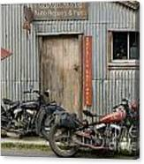 Indian Chout And Chief Bobber At The Old Okains Bay Garage Canvas Print