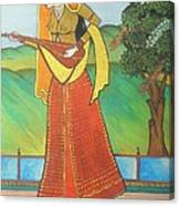 Indian Lady Playing Ancient Musical Instrument Canvas Print