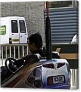 Indian Man Enjoying In A Bumper Cars Ride In An Entertainment Park Canvas Print