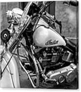 Indian Motorcycle In French Quarter-bw Canvas Print