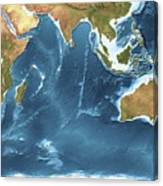Indian Ocean Sea Floor Topography Canvas Print
